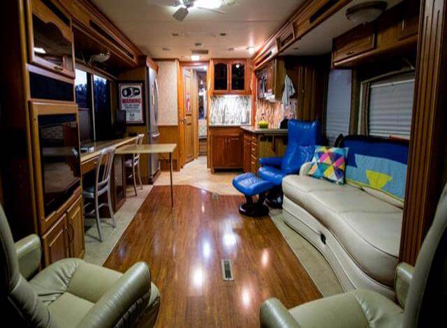 If your looking for amenities, space, storage & luxury then you will want to consider buying an RV from the Class A section. Class A RVs are top of the line, and can include as many features as you want. This is an interior pic of a Class RV a friend was considering when buying an RV out in Montana. As you can see there are two lazy boy recliners, a couch that folds out into a guest bed. Full size bathroom, kitchen and in this Class A RV there is a built in office complete with a desk. How many RVs do you know with a desk? If you need space then when buying an RV you need to consider a Class A Motorhome.