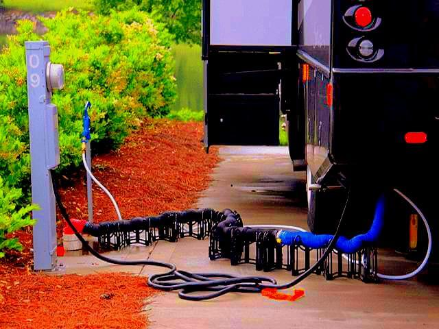 RV power and water supplies are known by a nickname called RV Hookups. RV hookups are universal in size across all campers, travel trailers, motorhomes & 5th wheels. Some RV's might draw more power also known as amps which you will hear people refer to their camper as 15 amp, 30amp or 50 amp. This just means how much electricity an RV needs to power on when connected to shore power. But the electrical plugin is the same size on all RVs. Same with the water hookups. It is your standard garden hose connection. So any hose will work with RV Hookups. The only difference between RV hookups in modern campers is capacity & electrical draw. Check out my Cheap RV Hookups post at www.aowanders.com to figure out how I find full time RV hookups for less than $200 anywhere in America.