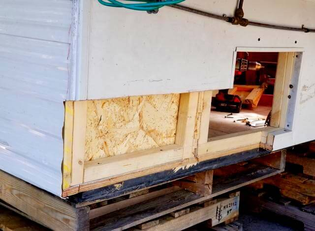 After modifying one of the corners of my new truck camper I had to frame it back in so that it was structorially sound. To do this I used 2x2 posts and 1/8 inch OSB plywood. to make it watertight I used the salvaged aluminum metal and roofing wall tins to wrap it all together.