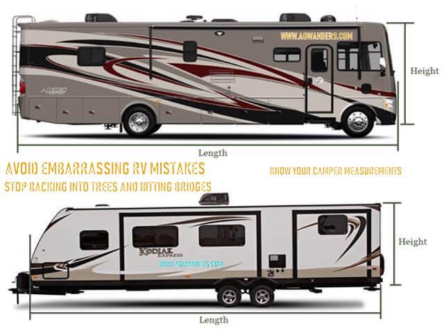 New RV Camper owners make a lot of RV mistakes because they don't know the size of their new RV camper. Want to make fewer RV mistakes? Know your RV camper measurements. This will keep you from damaging your new camper in more ways than one. Make fewer RV mistakes.