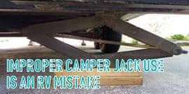 Adding blocks of wood under your camper jacks is a big no-no RV mistake. Blocks of wood aren't stable. They can roll or dislodge. Dispersing the weight of your camper onto the jack and ultimately bending it beyond repair. Don't make the RV mistake of blocking your camper jacks. It will only cost you money in the end.