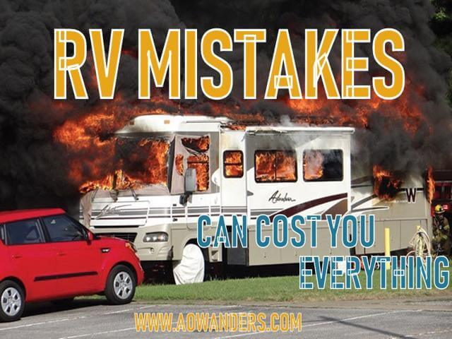 Making an RV mistake can cost you everything. Buying a cheap electrical extension cord instead of the required cord for your 50 amp travel trailer can cause an electrical fire while your out buying groceries. Burning everything you own to the ground because you wanted to save $25. RV mistakes are costly and embarrassing. Most new RV camper owners don't even know they are making a common RV mistake until its too late. Cheap RV living is filled with wonderful adventures. Be proactive and informed. This will help you avoid the common RV mistakes and keep your RV investment safe.