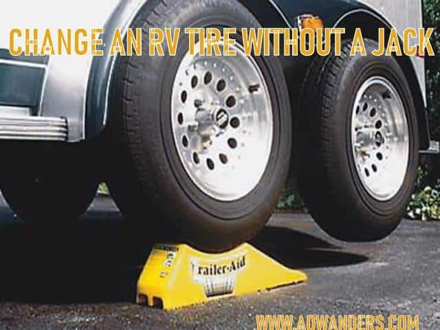 The easiest way to change a flat RV Camper tire is with RV tire ramps. They are made of hard durable plastic that are able to support the weight of your travel trailer or camper while you replace your RV tire. You can buy these RV ramps off of amazon, craigslist or at your nearest RV dealership. Don't make the RV mistake of getting a flat tire on your camper and having no way of jacking up your rig. Its an easy RV mistake to make, but an even easier RV mistake to avoid.