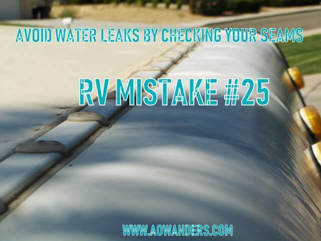 RV Mistake: Not checking your roofline RV camper seams. You should check the caulk on your RV camper twice a year. Once in the spring and once in the fall. Caulk freezes and breaks off in the cold winter temperatures, and in the hot summer it heats up and cracks. To avoid this RV mistake check all your camper seams twice a year.