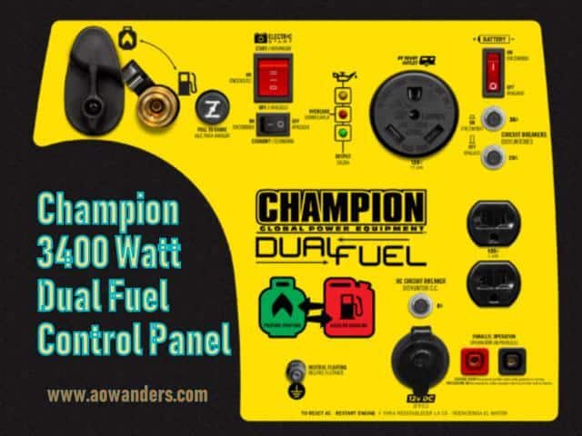 Control panel for onboard travel trailer generator. Lightweight, heavy duty construction, flip up handle, durable wheel and can run off of propane, natural gas or gasoline for up to 14 hours run time. With an electric start