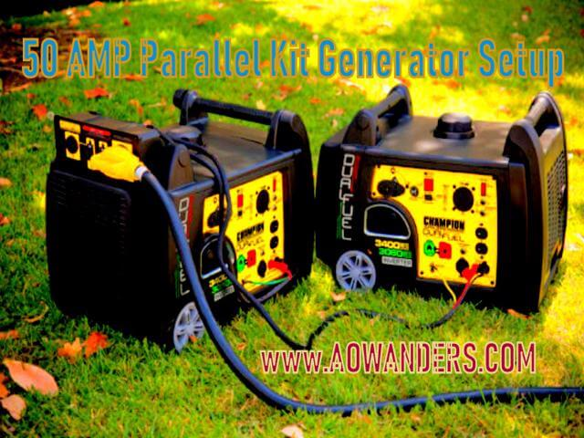 50 amp parallel kit for this electric start onboard travel trailer generator. Capable of running your A/C unit, fridge and microwave. Super quiet generator that turns at the flip of a switch. Equipped with economy mode for long runtime and quiet operating. The best portable generator is the Champion 3400 watt dual fuel rv ready generator that puts out a pure syne wave for delicate electronics.