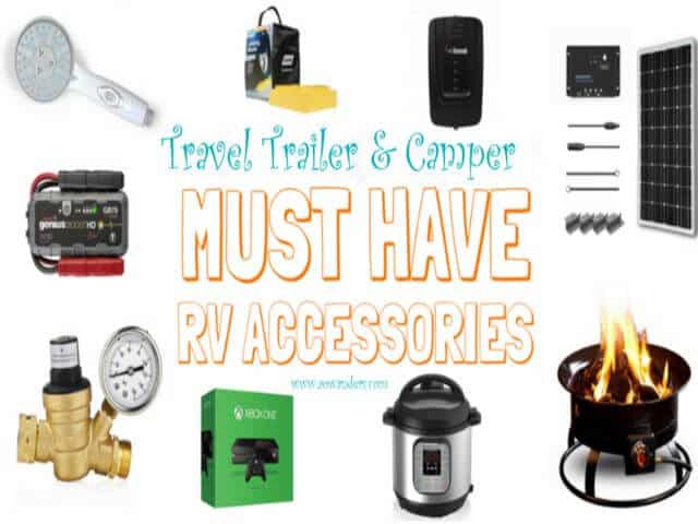 Must have travel trailer and camper RV accessories guide for new camper owners. Along with a complete essential travel trailer packing list. www.aowanders.com