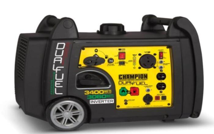 The best generator for Travel Trailer is the Champion 3400 watt dual fuel ultra quiet portable lightweight rv ready generator