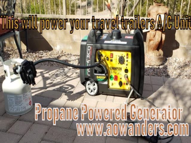 The best travel trailer generator that can be turned into an onboard travel trailer generator. This lighweight, quiet and portable generator is equipped to run off propane or gasoline for up to 14 hours. The perfect RV generator with an electric start.