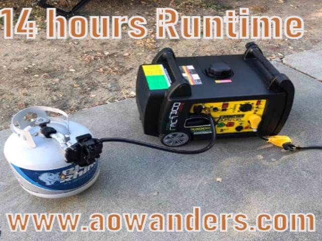 Super quiet propane powered generator for travel trailer with 14 hours of run time on one 20 gallon propane tank