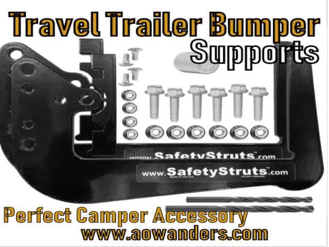 Bumper strut supports are the perfect travel trailer accessory needed to complete the onboard generator installion of your new camper. These camper accessories cost less than $30 and bolt right on. No drilling required and worked out perfect with my new onboard generator bumper mounted travel trailer portable quiet generator setup.