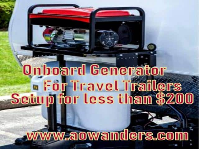 Use this travel trailer accessory to create an onboard generator for your new travel trailer. A trailer tongue generator tray sits above your battery bank and propane tanks for quick installation. In less than an hour you can have an onboard generator for your travel trailer. Complete with electric start. Wire a toggle switch inside your camper to complete this onboard travel trailer generator setup.