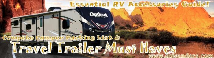 After buying your first travel trailer you now need to pack it with camping supplies. From cookware to backup cameras there are a lot of fun RV accessories you could purchase, but the essential camper trailer accessories are the ones that will enhace your camping experience. So check out my RV must haves, camper packing list and travel trailer accessories list at www.aowanders.com