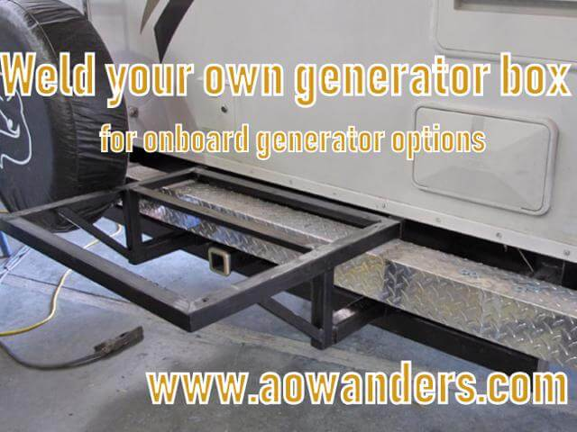 DIY generator box and tray for travel trailer. If you have any welding skills at all this would be a quick afternoon project to make your own generator box for your travel trailer.