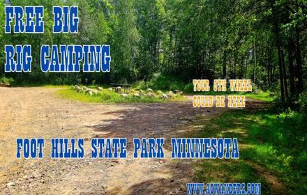 Free camping for travel trailers and 5th wheels at Spider Lake Trails Recreational are in Foot Hills State Forest outside of Backus MN. With plenty of turnarounds for big rigs. Big spacious free campsites next to spider lake and just minutes away from Chippewa National Forest and Northern Lights Casino