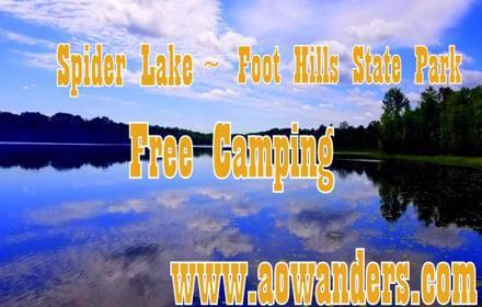 Spider Lake offers plenty of free camping options along its shores in the Foot Hills State Forest