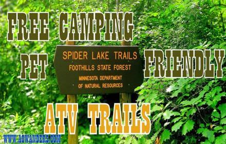 Outdoor recreation at Foot Hills State Forest in Minnesota consists of kayaking, ATV, Fishing, free camping, mountain biking, hiking, bird watching, snowmobiling, cross country skiing, swimming & boating.