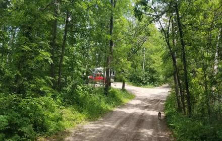 Free designated travel trailer campsite on Spider Lake in Foot Hills State Forest