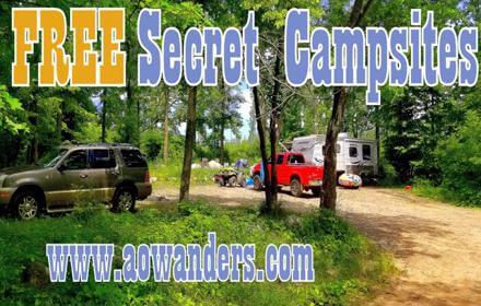Free campsites for large RVs, travel trailers and 5th wheels on the shores of Spider Lake found in the Foot Hills State Forest in Minnesota. Near Backus, MN.