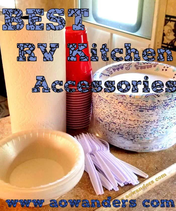 The most essential RV kitchen accessories are paper plates, paper towels, plastic silverware, plastic cups and anything else disposable that is necessary for meals times.