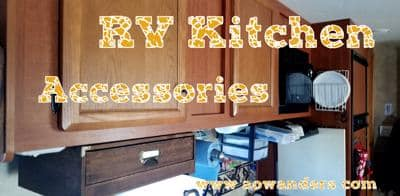 RV kitchen accessories are the easiest way to add personal touches to your new camper. For me I have 3 favorite RV accessories that I purchase for every RV/Camper I own. A silverware drawer, paper drawer and next to the camper door bin for quick access items.
