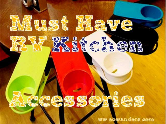 The clip on drink holders are an absolute must have camper kitchen accessory.