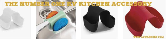 The perfect camper kitchen accessory is the rubber sink caddy for your RV kitchen