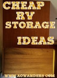 Cheap RV storage ideas like using a bread box at the camper door to store headlamps, keys, flash lights and outdoor bluetooth speakers.