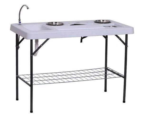 Make sure to pick up this folding table with built in sink when buying the rest of your RV outdoor kitchen accessories.  This is a true must have camper accessory.