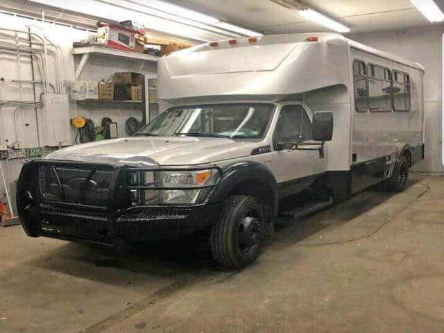 The ultimate 4x4 Camper is an F550 6.7 diesel 16 passenger shuttle bus