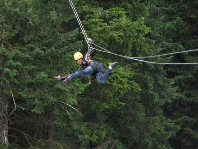 AOWANDERS zipling in Alaska after a bucket list RV road trip up through British Columbia & Jasper National Park