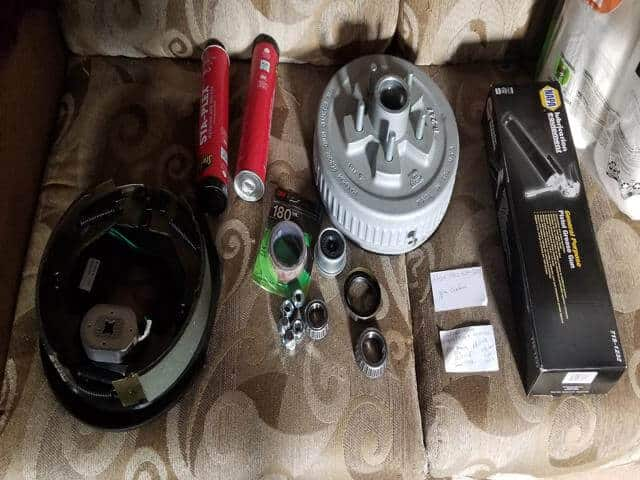 Had to wait a week to get all the parts needed to fix my travel trailer. New electric brakes, hub assembly, bearings, axel and regrease everything.