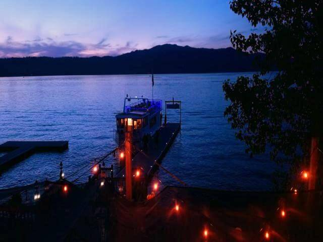 Eating dinner at anchor club in McCall Idaho as ferry docked for the night on Payette Lake during our RV road trip to McCall idaho