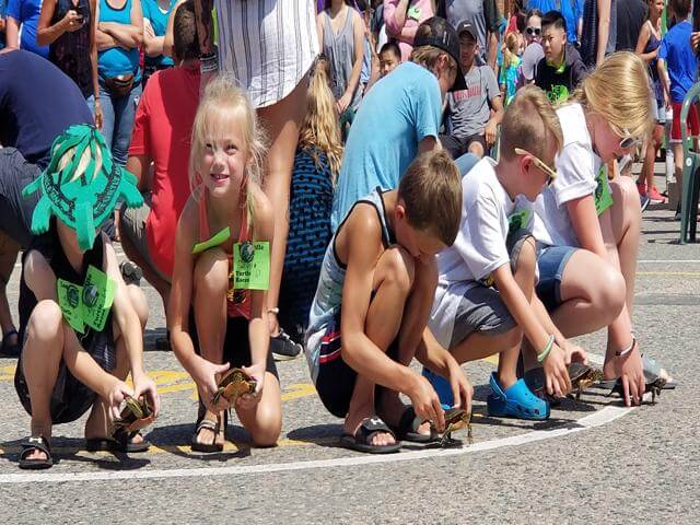 Kids getting ready for the turtle races in Longville MN 2019