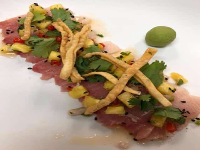Mouth watering himachi sashimi appetizer from Jasmine + Ginger's new menu