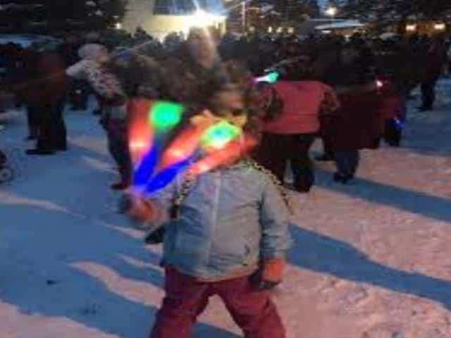 kids torchlight parade in McCall Idaho during winter carnival