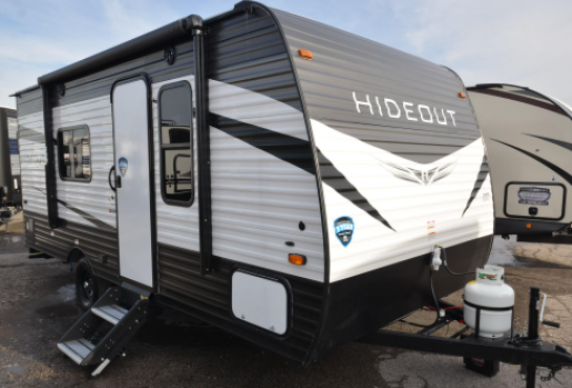 17 foot keystone hideout is a small rv camper with full kitchen and bathroom floor plan layout
