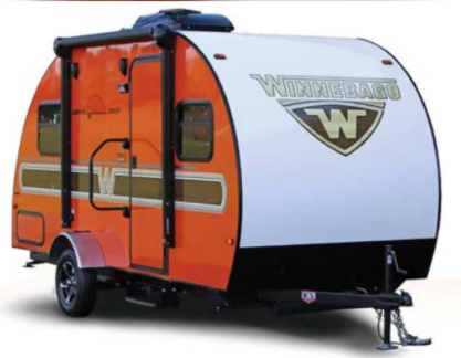 17 foot Winnebago Minnie Drop is a small towable travel trailer camper with a full size shower and bathroom that can be towed by a small sedan.