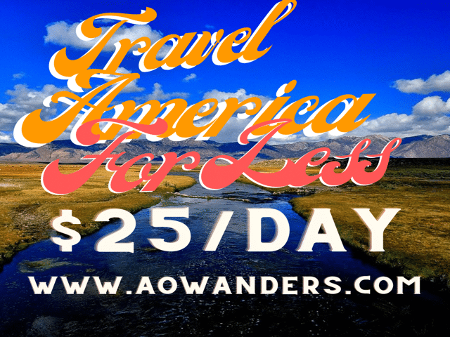 AOWANDERS teaches you how to travel America for less than $25 a day using this cheap RV hookups affordable longterm private RV lots for rent and free RV parking guide.