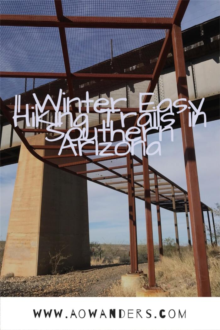 Railway bridge towering over the Gabe Zimmerman hiking trail in Vail, Arizona