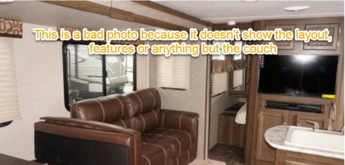 camper interior photo for online RV classified ad