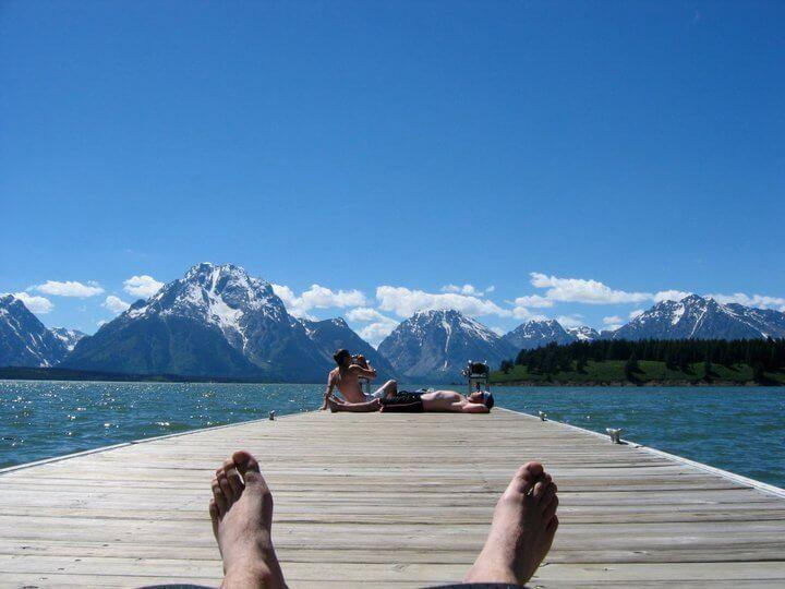 Hanging out with Signal Mountain Employees at Jackson Lake in Grand Teton National Park next to Yellowstone National Park and just outside of Jackson Hole and teton village where you can find cheap lodging at the jackson hole hostel